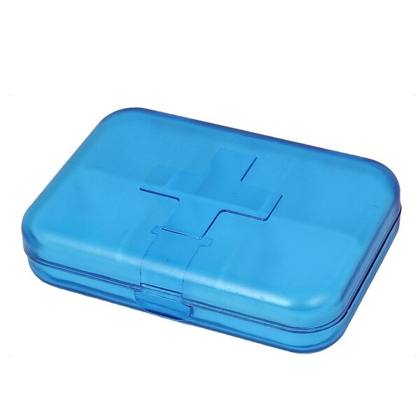 Plastic Portable 6 Compartments Pill Storage Box Case Container Clear Blue