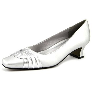 Easy Street Tidal Women N/S Square Toe Canvas Silver Heels