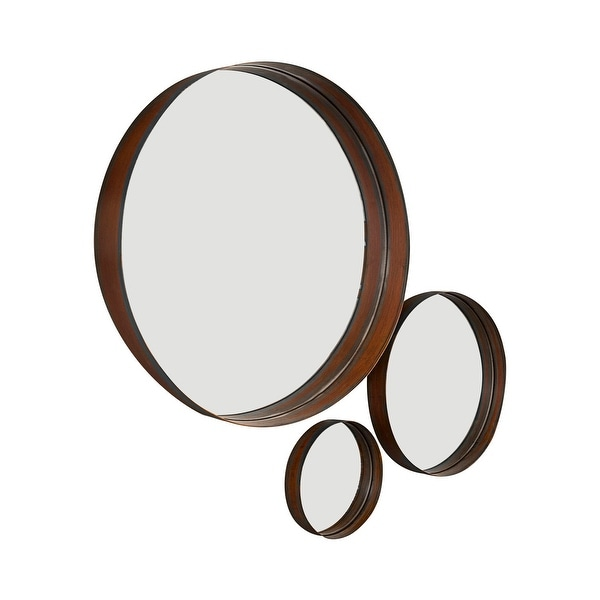 Offex Banded Round Decorative Copper Mirror - Set of 3