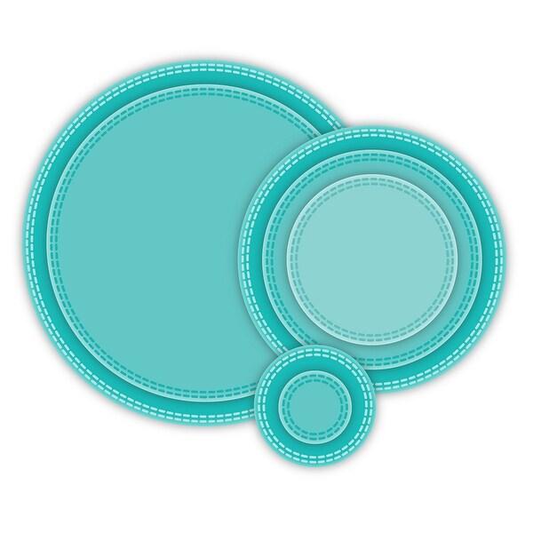 "CottageCutz Basics Dies 7/Pkg-Double Stitch Circle .8"" To 3.8"""
