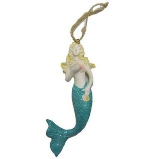 "Sea Creations Mermaid with Starfish Ornament 5"" Teal"