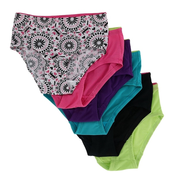 Fruit of the Loom Girl's Breathable Micro Mesh Briefs Underwear (6 Pair Pack) - Multi. Opens flyout.