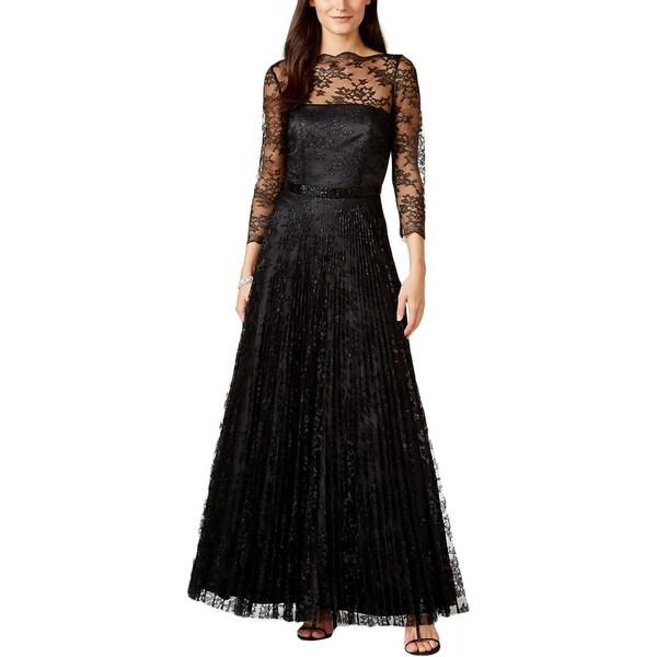Shop Tahari ASL Womens Ashley Evening Dress Metallic Lace - Free ...