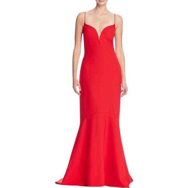 Shop Nicole Miller Womens Evening Dress Crepe V-Neck - Free Shipping ...