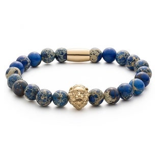 Fashionvare Sea Sediment Lion Bead Bracelet Blue
