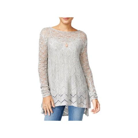 Jessica Simpson Womens Darlanne Pullover Sweater Open Stitch Marled