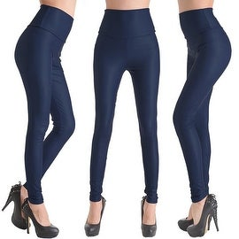 Navy Blue Faux Leather Stretchy Leggings Solid Wet Look High Waist Pants S, M, L