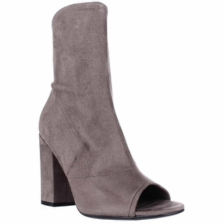GUESS Galyna Peep Toe Block Heel Tall Ankle Booties - Medium Natural