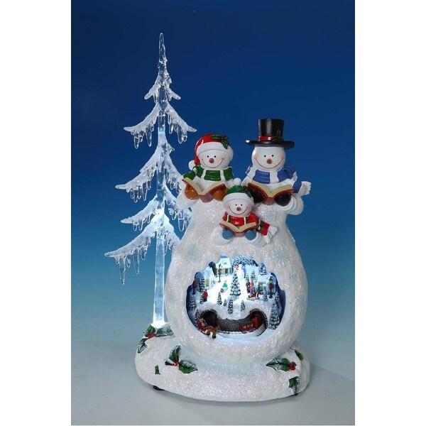 "Set of 2 LED Musical Snowmen Choir With Winter Scene Table Top Decor 13.5"""