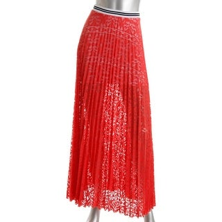 Silva Womens Lace Knife Pleat Maxi Skirt - S