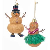 Kurt Adler Noble Gems Sand Snowman and Snow Woman   Holiday Ornaments Set of 2