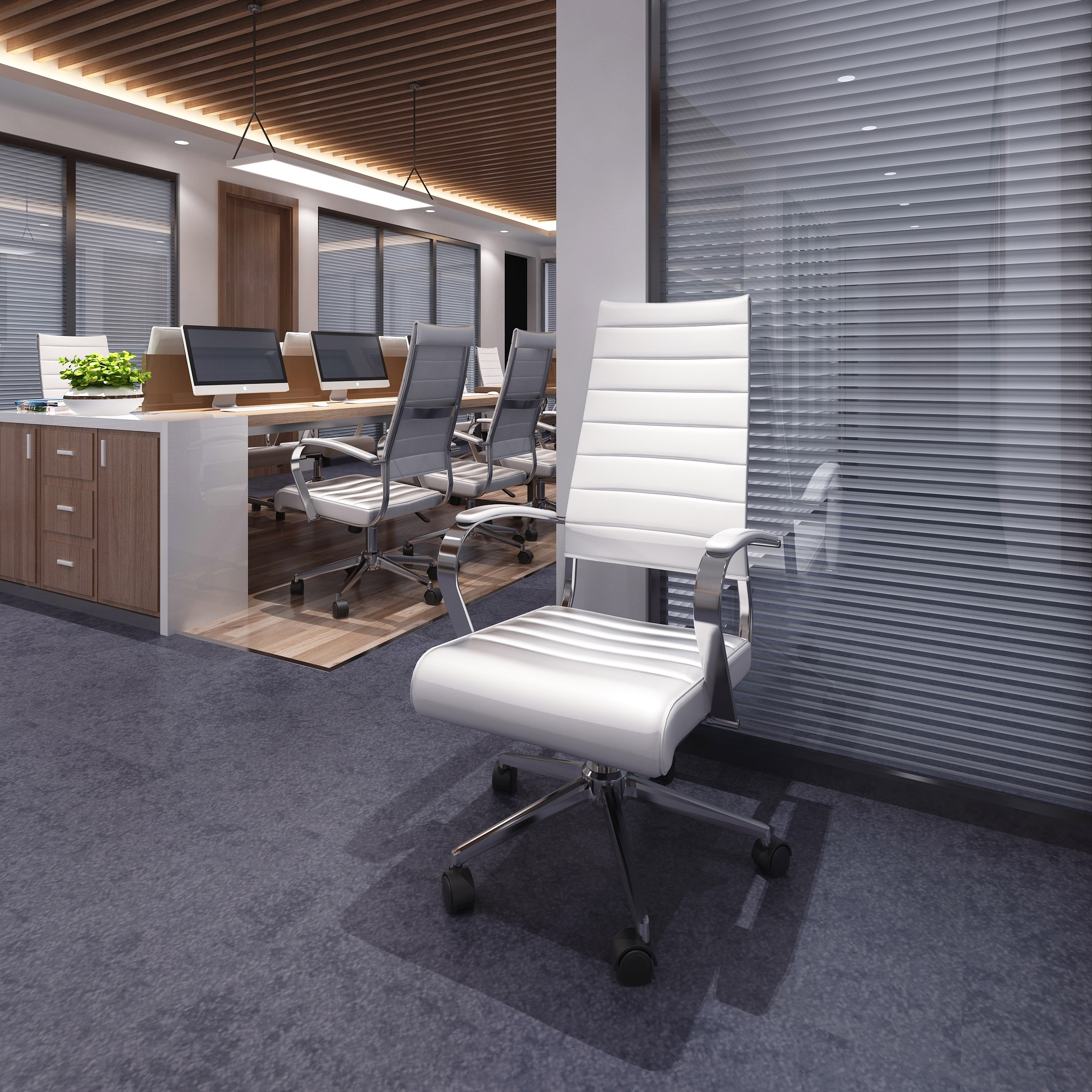 Shop 2xhome Modern White High Back Office Chair Ribbed Pu Leather Manager Tilt Conference Room Computer Desk Boss Task Executive Boss On Sale Overstock 15077823