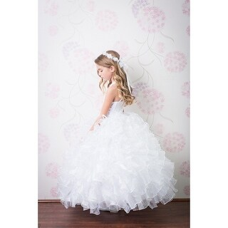 Rainkids Girls White Sequin Sparkly Ruffle Organza Communion Dress 7-16