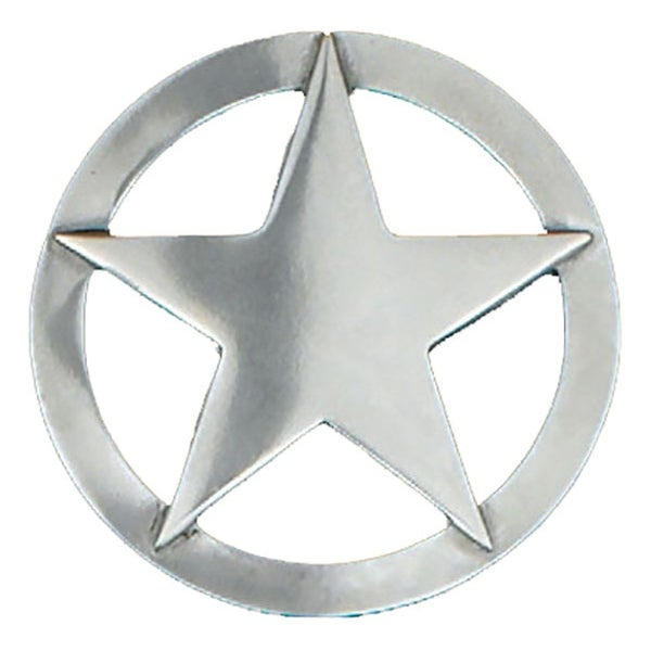 Large Silver Tone 5-Point Star Belt Buckle - One size