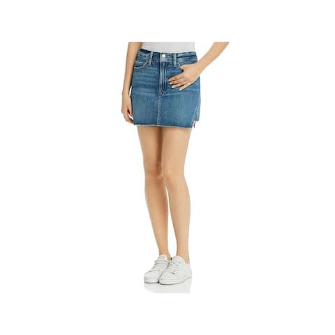 Frame Denim Womens Gusset Step Mini Skirt Denim Raw Hem