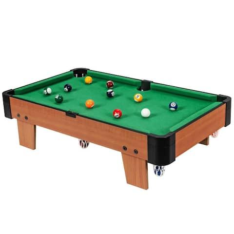 24â Mini Tabletop Pool Table Set Indoor Billiards Table with Accessories - 24 x 14 x 6.5 (L x W x H)