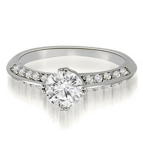 1.25 cttw. 14K White Gold Knife Edge Round Cut Diamond Engagement Ring