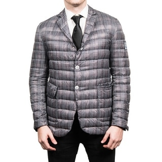 Moncler Men's Gamme Blue Padded Down Blazer Sportscoat Jacket Plaid Navy - M