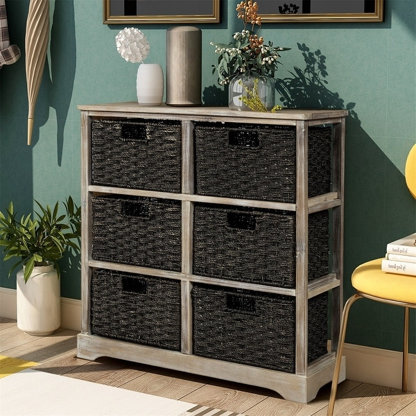 Harper & Bright Designs Storage Cabinet with 6 Rattan Baskets. Opens flyout.