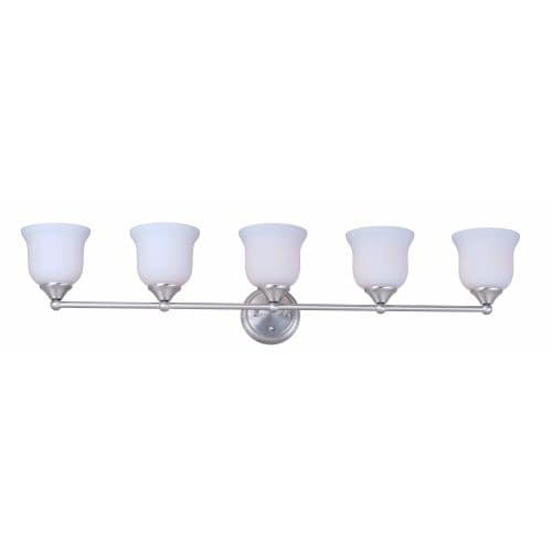 Forte Lighting 5532 05 5 Light Bathroom Vanity Light With Satin Opal Glass  Shades