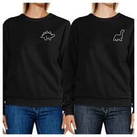 Dinosaurs Black Best Friend Matching Sweatshirts Gift For Friends