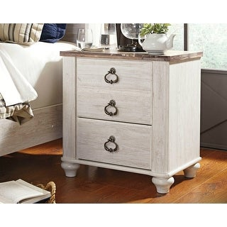 Ashley Furniture B267-92 Willowton Two Drawer Night Stand w/ Two-Tone Finish