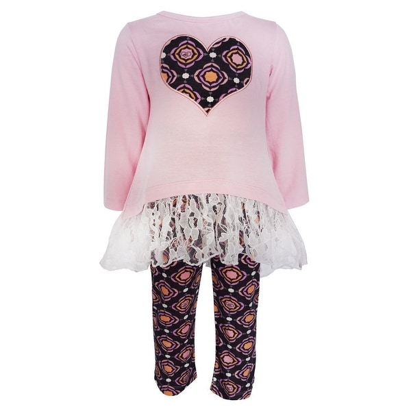 AnnLoren Baby Girls Pink Heart Lace Hi-Lo Tunic Legging Boutique Outfit 12-24M