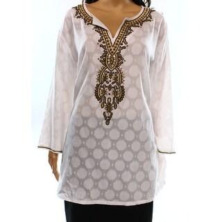 Charter Club NEW White Women's Size XL Tunic Embellished Split-Neck Top