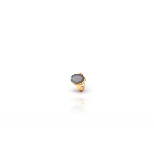 Aqua Ring in Labradorite- Size 6