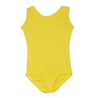 Girls Bright Yellow Full Front Lining Tank Dancewear Leotard
