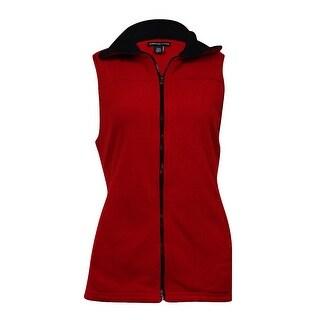 American Living Women's Solid Pocket Fleece Zip Vest