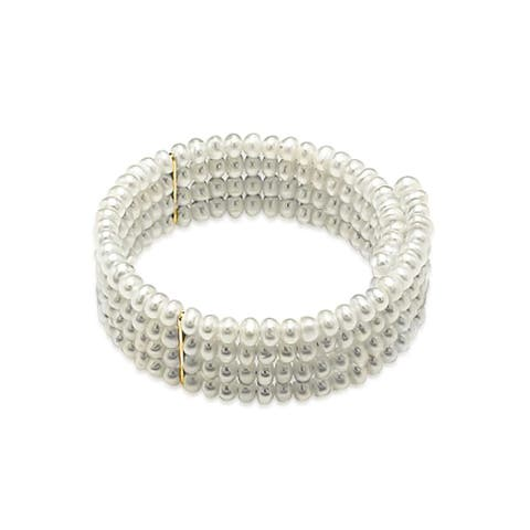 Wide 4 Row White Freshwater Cultured Pearl Choker Necklace For Women For Prom For Wedding Gold Plated Bar Flexible