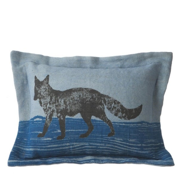 Pack of 2 Two-Tone Blue Rectangular Lumbar Accent Pillows with Fox Design