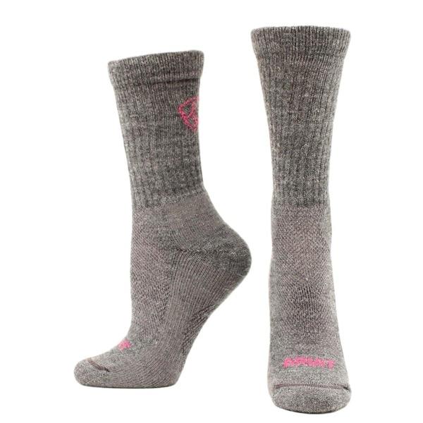 Ariat Western Socks Womens Merino Hiker Mid Weight M Gray