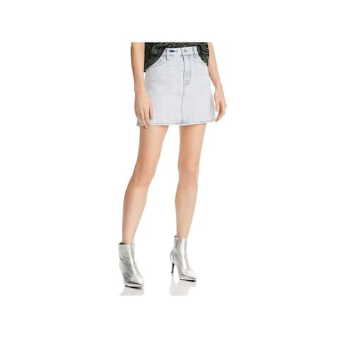 7 For All Mankind Womens Mini Skirt Denim Party - Cloud