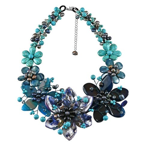 Handmade Midnight Tropical Garden Mixed Stone, Pearl, and Crystal Bib Necklace (Thailand) - Blue