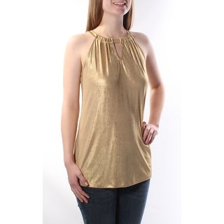 Womens Gold Sleeveless Keyhole Party Top Size M
