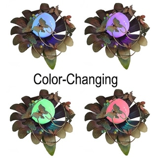 """15"""" LED Lighted Color Changing Solar Powered Butterfly Flower Garden Lawn Stake"""