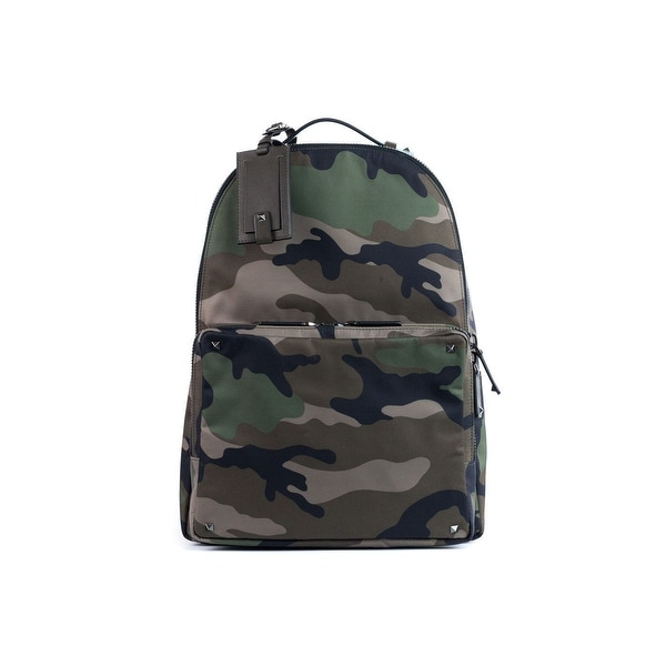 b84c824d92bb Shop Valentino Brown Rockstud Camouflage Nylon Backpack - Free ...