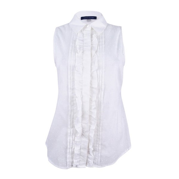 f577d0d782c9fe Shop Tommy Hilfiger Women s Sleeveless Ruffled Shirt - Ivory - On Sale -  Free Shipping On Orders Over  45 - Overstock - 21547007