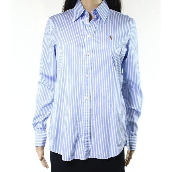 c8a475bc68 Shop Ralph Lauren NEW Light Blue Womens Size 6 Striped Button Down Shirt -  Free Shipping On Orders Over $45 - Overstock - 20033167