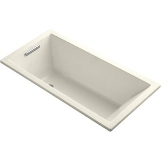 "Kohler K-1121 Underscore Collection 60"" Drop In Deep Soaker Bath Tub with Slotted Overflow and Reversible Drain"