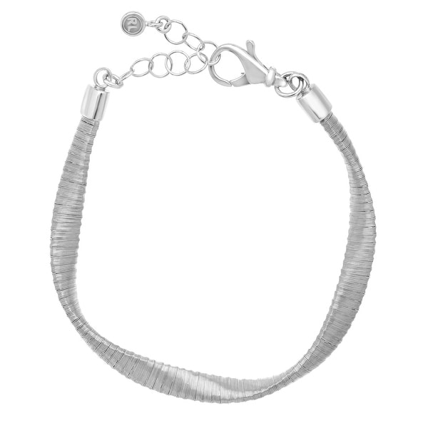 Twisted Bracelet in Rhodium-Plated Sterling Silver
