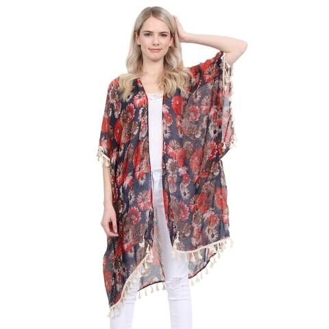 Riah Fashion's Floral Print Semi Sheer Tassel Cardigan