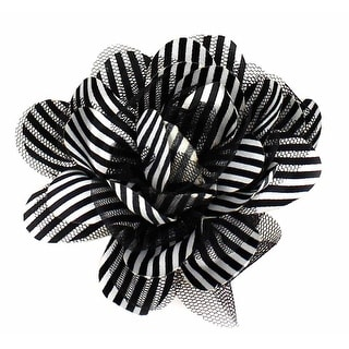 1940's Pinstripe Nylon Mesh Flower Clip or Pin