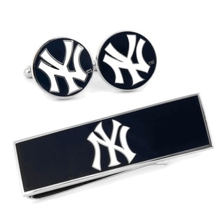 New York Yankees Cufflinks and Money Clip Gift Set MLB - navy