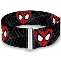 Marvel Comics Spider Man Heart Face Web Black Gray One Size Cinch Waist Belt   ONE SIZE