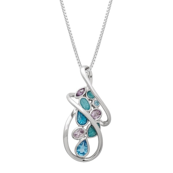 3/4 ct Natural Blue Topaz & Amethyst Swirl Pendant with Enamel in Sterling Silver