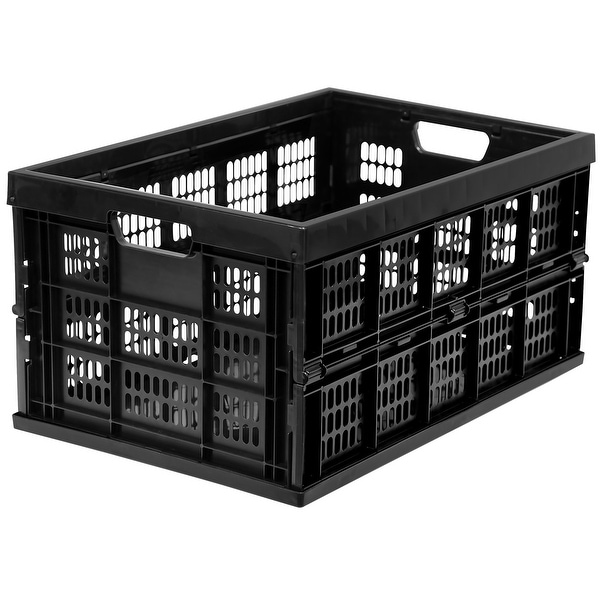 Work-It! Collapsible Milk Crates | 49 Liter Stackable Storage Bins | Set of 3. Opens flyout.