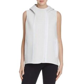 Elie Tahari Womens Margie Vest Hooded Contrast Trim